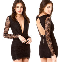 Black Deep V-Neck Lace Embroidered  Cutout Back Mini  Dress