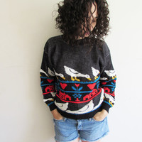 Vintage Black 80s Country Living Ducks and Hearts Knit Sweater