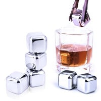 5 pcs/lot Newest Whiskey Stainless steel Stones Whisky ice cooler for Whiskey beer Bar household Wedding Gift Favor Christmas