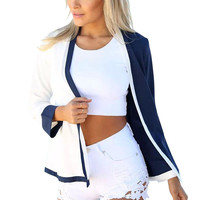 Color Block Long Sleeve Cover-up