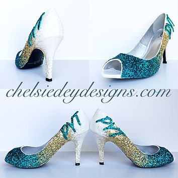 Teal Glitter Peep Toe Pumps, White Gold Ombre Wedding Open Toe High Heels