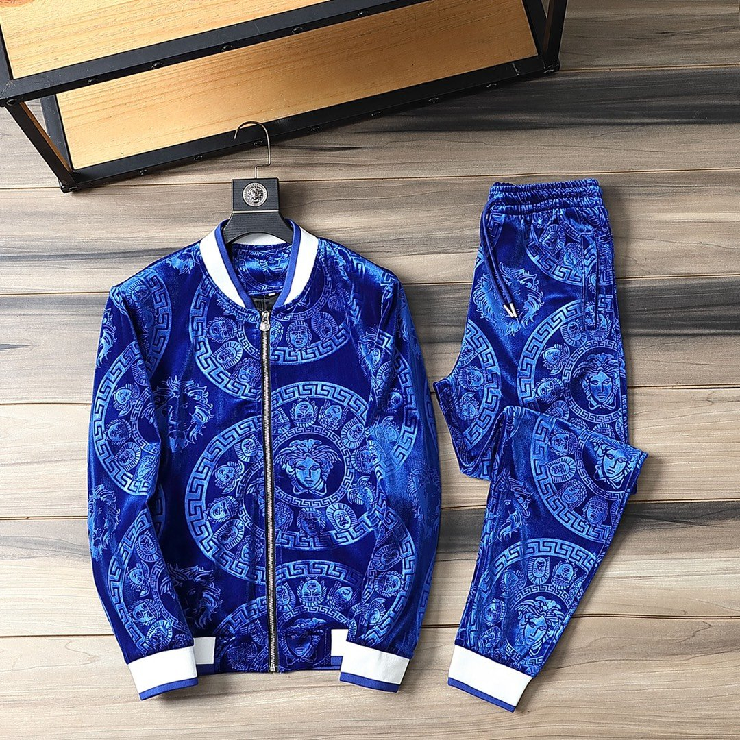 Image of Versace new color matching letter printing sports suit two-piece 062239