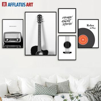 Guitar Radio Vinyl Records Wall Art Canvas Painting Nordic Posters And Prints Vintage Poster Wall Pictures For Living Room Decor