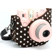 CAIUL Colorful Dots Spot Cloth+PU fuji mini case for Fujifilm Instax Mini 8 Case + Free Shoulder Strap, Brown