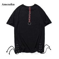 Street Wear Fashion Drawstring Hemmed T-Shirt