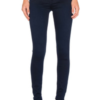 7 For All Mankind Contour Waistband Skinny in Midnight Blue Knit Denim
