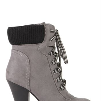 Faux Suede Lace Up Hiker Booties with Sweater Trim Cuff and Lug Sole