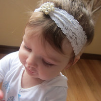 Darling Lace and Rhinestone and Pearl Baby Headband - Baptism, Christening, Rhinestones, Bling, Newborn, Infant, Toddler Hair Accessory