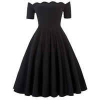 Fashion Party Women Dresses Black Cotton Sexy Off Shoulder Autumn Summer Dress Rockabilly Pinup Wiggle 50s Vintage Dress Vestido