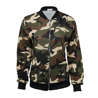 Fashion Lady Casual Street Look Camouflage Pattern Short Jacket