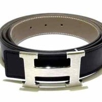 Auth HERMES Black Silver Leather Hardware H Belt X #100