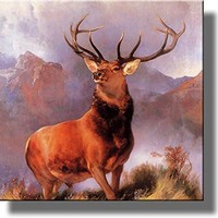 The Monarch of the Glen Painting by Landseer, Deer Buck Wall Picture on Stretched Canvas Wall Art Decor Ready to Hang!.