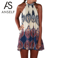 ANSELF Fashion Women Boho Dress Summer Loose Printed Halter Style Sleeveless Hippie Mini Dress Plus Size Women Clothing Vestidos