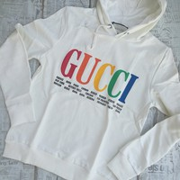 Gucci Cities White Hooded Cotton Sweatshirt
