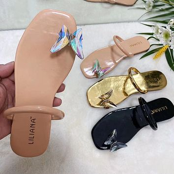 New style slippers fashion butterfly outer wear casual flip flops women's slippers