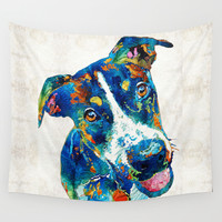 Colorful Dog Art - Happy Go Lucky - By Sharon Cummings Wall Tapestry by Sharon Cummings