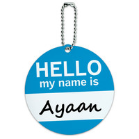 Ayaan Hello My Name Is Round ID Card Luggage Tag