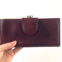 Vintage Buxton Women's Burgundy Leather Wallet Top Grain Cowhide Leather Long Checkbook Wallet with Coin Purse, Zippered Pocket & Card Slots