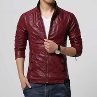 Leather jacket men coat Brand-clothing Motorcycle men winter leather jackets coats Suede overcoats PU Twill
