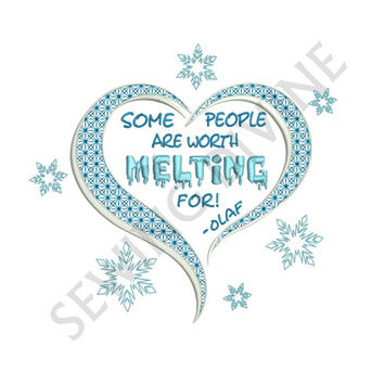 "SNOWMAN Heart and Snowflakes Embroidery Design ""Worth MELTING For"" 4x4 5x7 6x10 Instant Download"