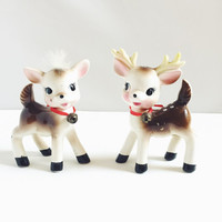 Vintage, Christmas, Reindeer, Salt and Pepper, Collectible, Shakers, Kitsch, Table Decoration, Big Eyed, Made in Japan