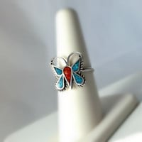 Sterling Coral and Turquoise Inlay Butterfly Ring Size 7