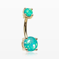 Golden Opal Sparkle Prong Set Belly Button Ring