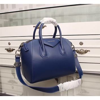 Givenchy Women's Antigona Sugar Goatskin Leather Satchel Bag, Blue