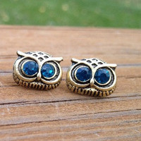 Hot sales retro Silvery owl head with blue crystals eyes stud earrings