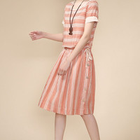 Orange Striped Short Sleeve Elastic Waist Midi Dress