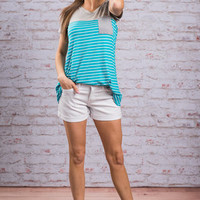 Right About Stripes Tee, Aqua