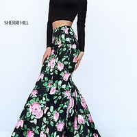 Long Print Two Piece Long Sleeve Prom Dress by Sherri Hill