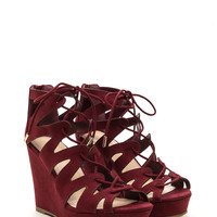 Run The World Caged Faux Suede Wedges GoJane.com