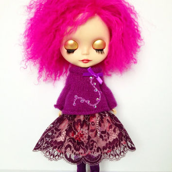 Blackcurrant Kisses - felted smock sweater with lace and petticoat for Blythe