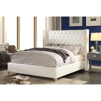 Soho White Bonded Leather Queen Bed