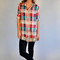 Ellie Plaid Button Up with Lace Hem: Red