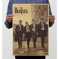 Vintage Beatles Kraft Wall Poster Custom Home Decorations Famous Band Wall Decorative Picture Living Room Bedroom Wall Decals Retro Wall Art Decor 51*31.5cm (Color: Tan)