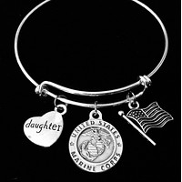 Marine Daughter Jewelry Expandable Charm Bracelet Silver Adjustable Bangle One Size Fits All Gift USA Military USMC Marines