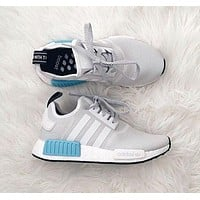 """ADIDAS"""" NMD Trending Running Sport Shoes Sneakers Grey White Blue I"""