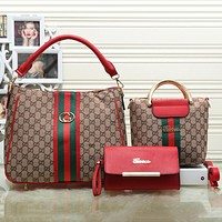 Gucci Women Leather Shopping Tote Handbag Messenger Bag Satchel Crossbody Set Three-Piece