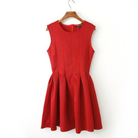 Red Sleeveless Vest Dress One Piece Dress [4917802372]