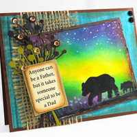 Original Handpainted Father's Day - Northern Lights - Greeting Card - Love you Dad - Bear