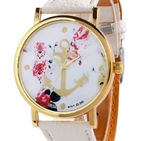 White Nautical Anchor Floral Watch