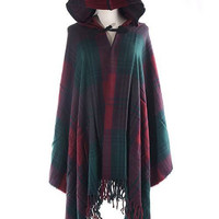 Green Hooded Cape In Check Pattern