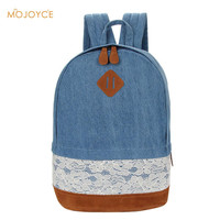 Casual Travel bagFresh Lace Denim Women'CanvaBackpack School Bag TeenagerSchoolbag Mochila Backpacks