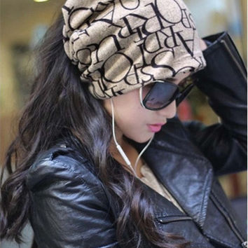 Women spring winter Hats loose wool knitted headband hat turban scarf beanies female fashion cap man letters hats mz006 = 1958032196