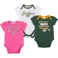 Green Bay Packers 3-Pack Bodysuit Set - Baby Girl, Size: