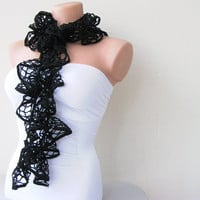 Black Lace Shades Funky Scarf by fairstore on Etsy