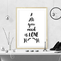 """Wall art decor, John Lennon quote, minimalistic typography poster  """"All you need is LOVE"""", shaped like Eiffel Tower in Paris"""
