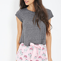 FOREVER 21 Cupcake Print Flannel PJ Shorts Pink/White